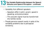 the variable relationship between the speech stimulus and speech perception continued