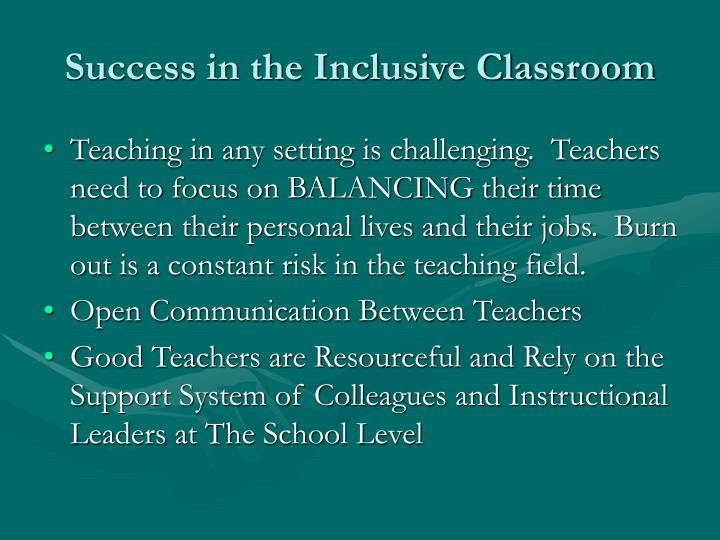 Success in the Inclusive Classroom