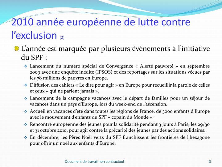 2010 année européenne de lutte contre l'exclusion