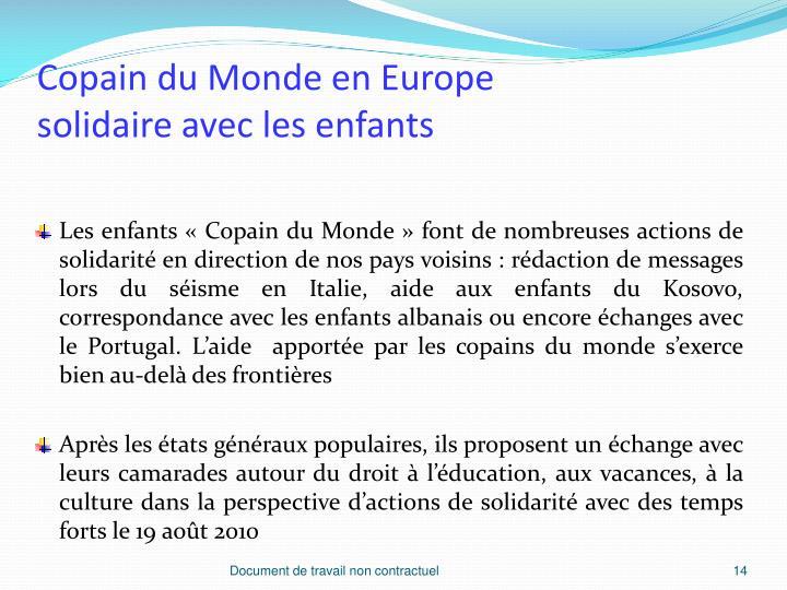 Copain du Monde en Europe
