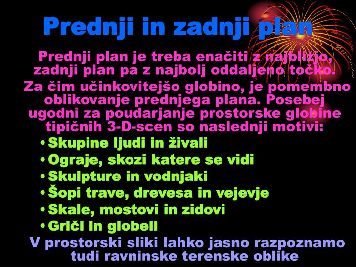 Prednji in zadnji plan