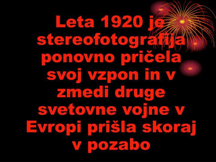 Leta 1920 je stereofotografija ponovno pričela svoj vzpon in v zmedi druge svetovne vojne v Evropi prišla skoraj v pozabo