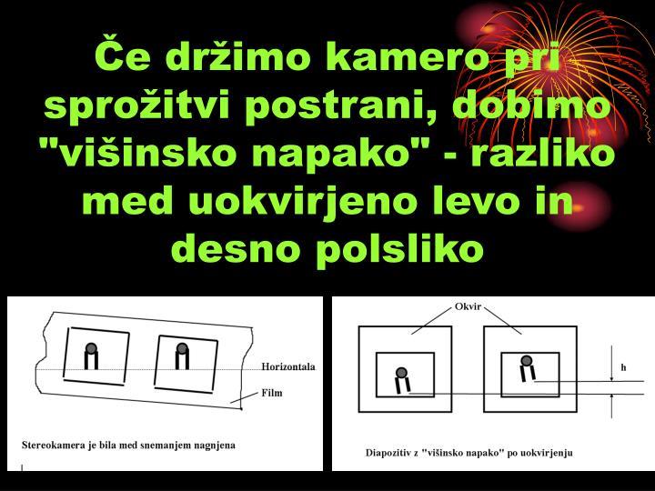 """Če držimo kamero pri sprožitvi postrani, dobimo """"višinsko napako"""" - razliko med uokvirjeno levo in desno polsliko"""