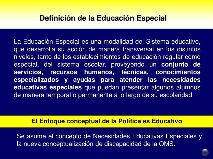 Definición de la Educación Especial