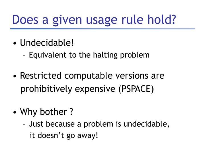 Does a given usage rule hold?