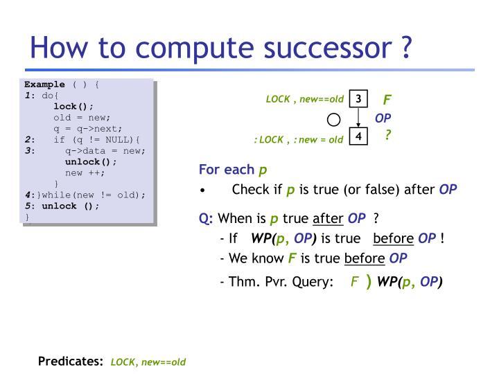 How to compute successor ?