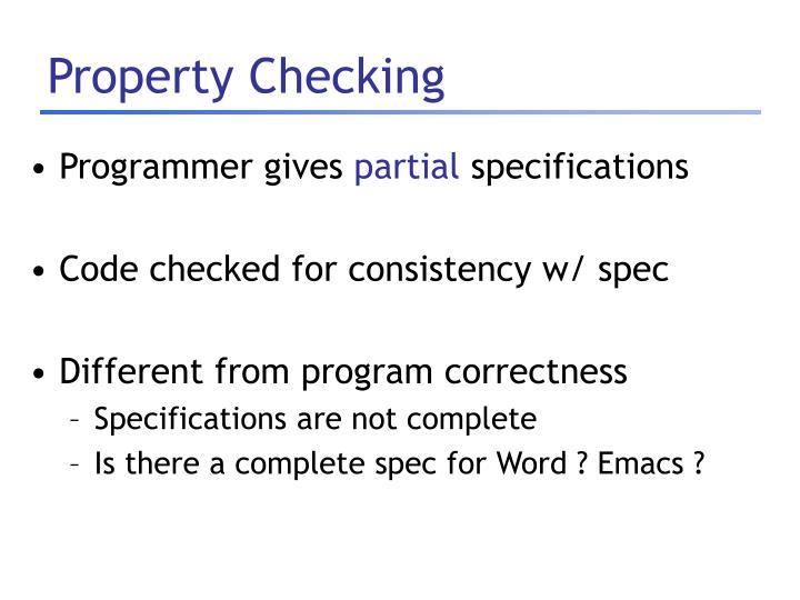 Property Checking