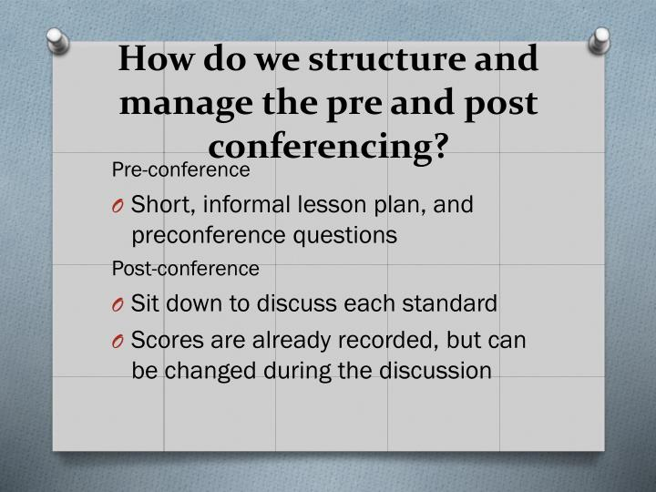 How do we structure and manage the pre and post conferencing?