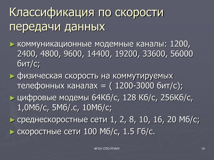 Классификация по скорости передачи данных