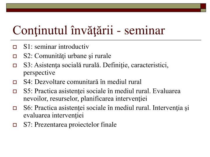 Conţinutul învăţării - seminar