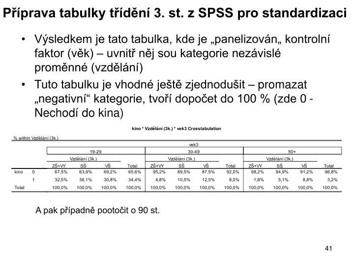 Příprava tabulky třídění 3. st. z SPSS pro standardizaci
