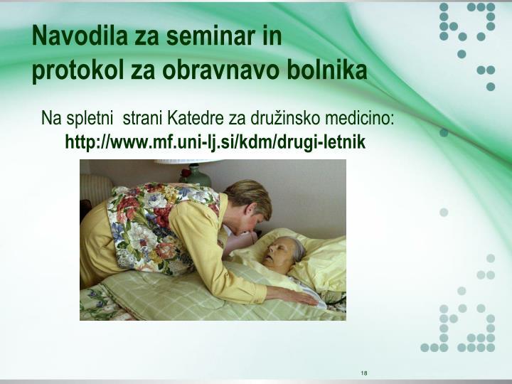 Navodila za seminar in protokol za obravnavo bolnika
