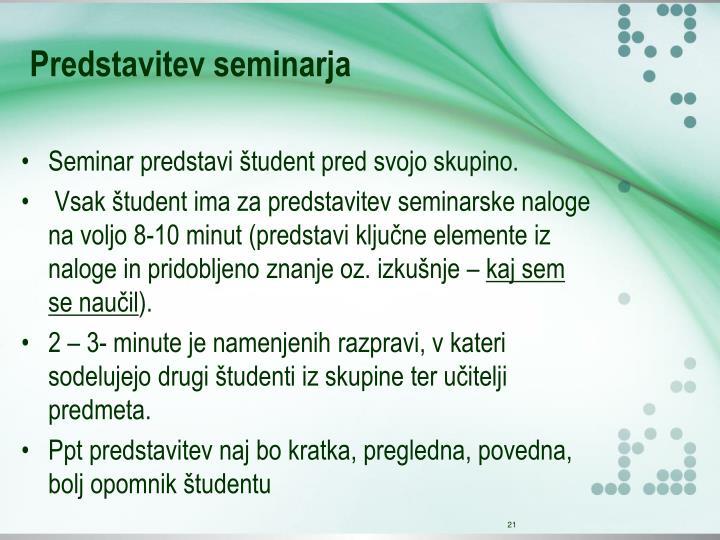 Predstavitev seminarja