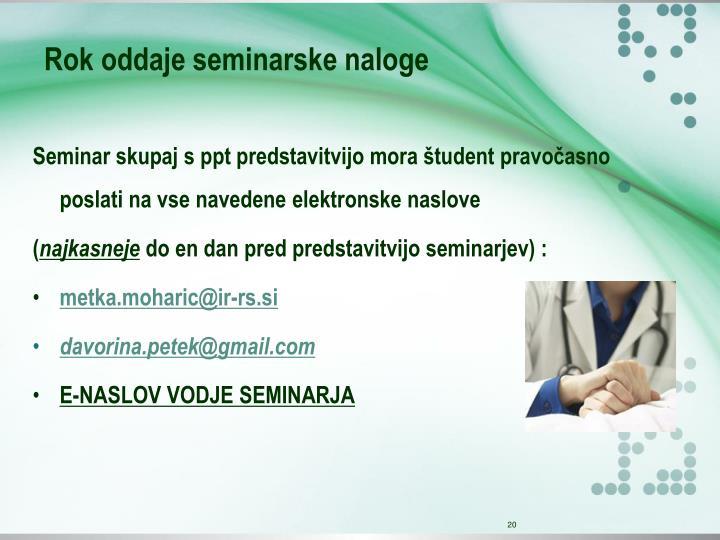 Rok oddaje seminarske naloge