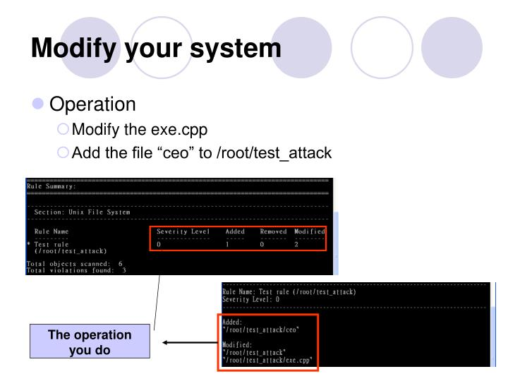 Modify your system