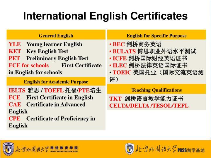 International English Certificates