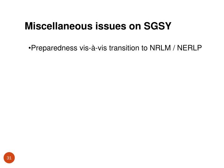 Miscellaneous issues on SGSY