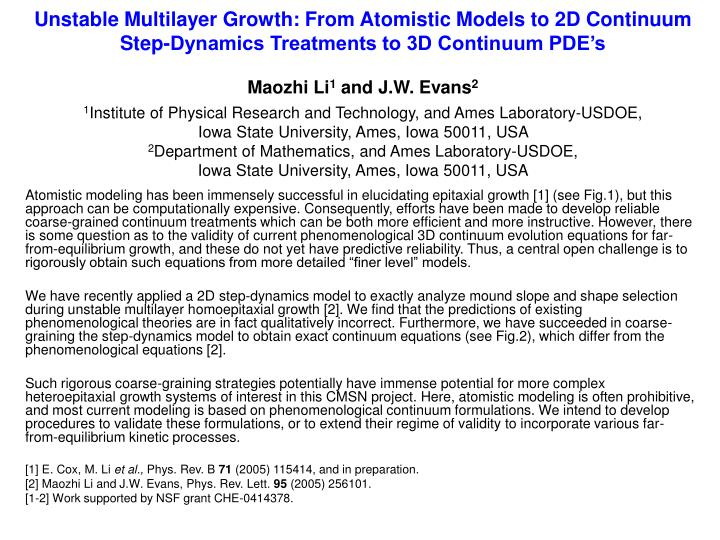 Unstable Multilayer Growth: From Atomistic Models to 2D Continuum Step-Dynamics Treatments to 3D Con...