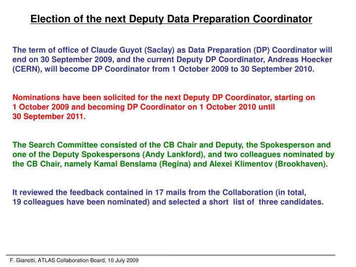 Election of the next Deputy Data Preparation Coordinator