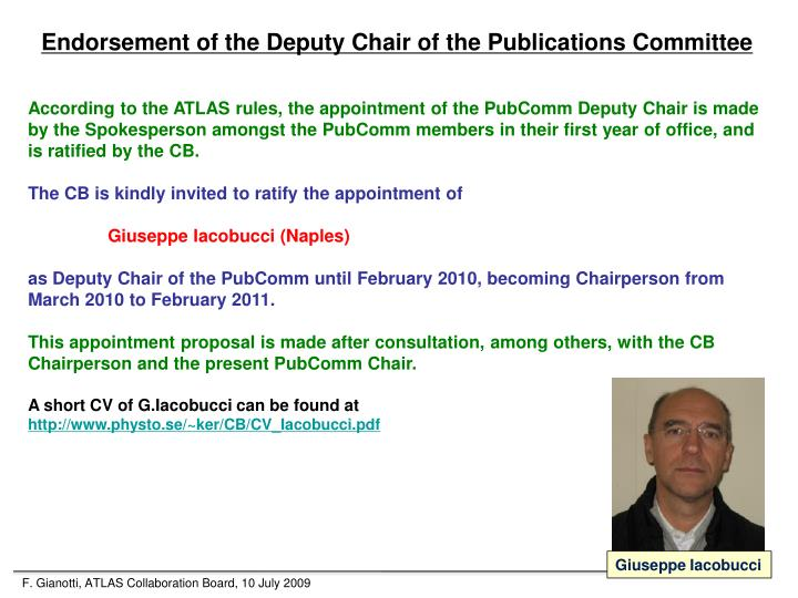 Endorsement of the Deputy Chair of the Publications Committee