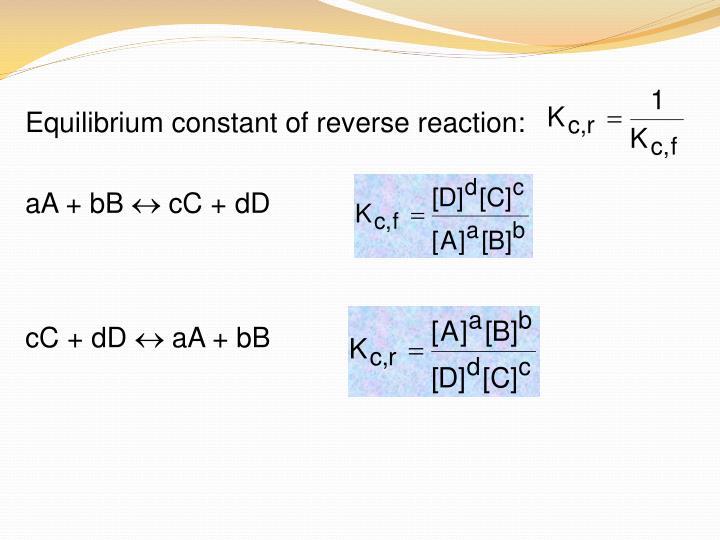 Equilibrium constant of reverse reaction: