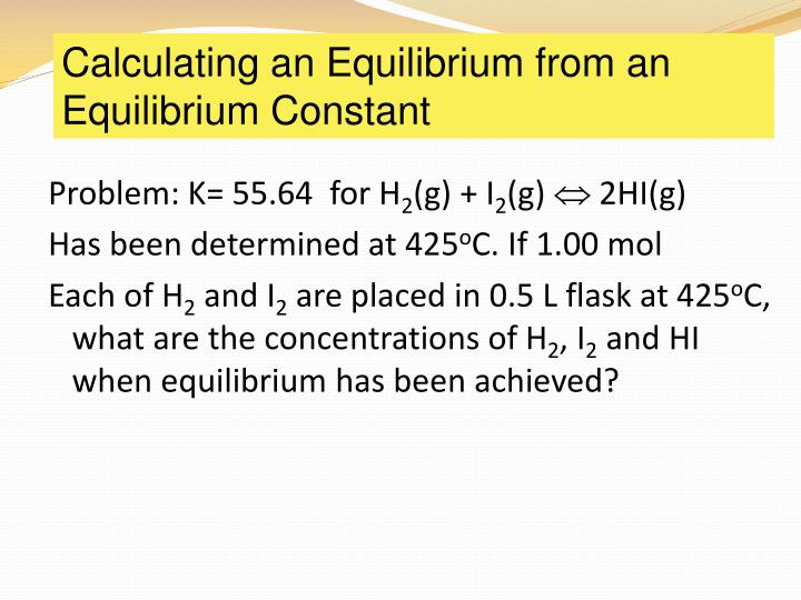 Calculating an Equilibrium from an Equilibrium Constant