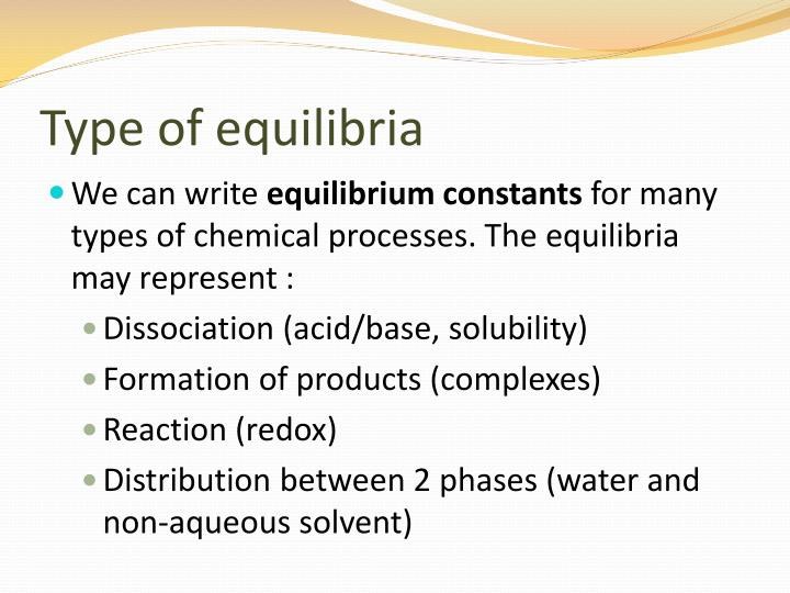 Type of equilibria