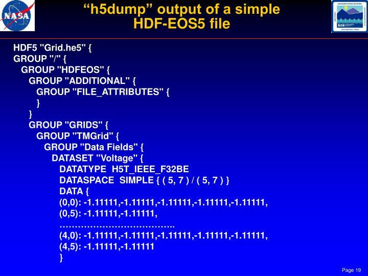 """h5dump"" output of a simple"
