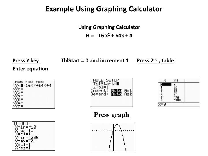 Example Using Graphing Calculator