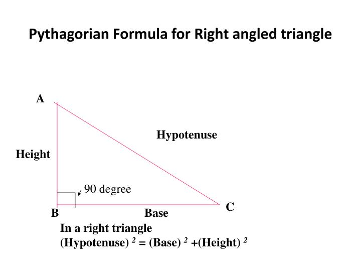 Pythagorian Formula for Right angled triangle
