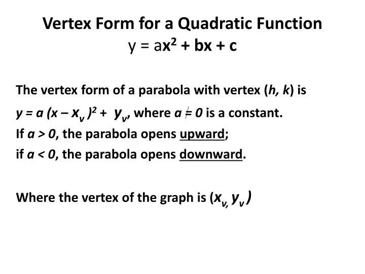 Vertex Form for a Quadratic Function
