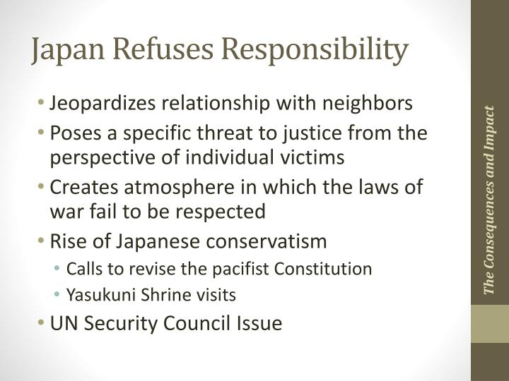 Japan Refuses Responsibility