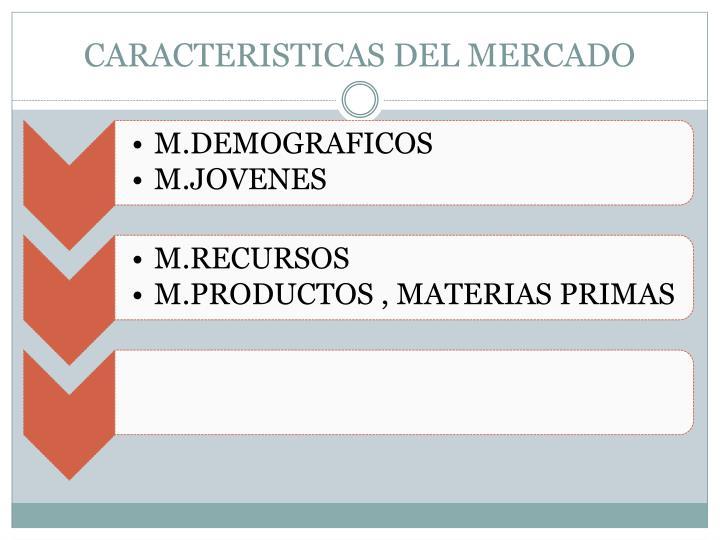 CARACTERISTICAS DEL MERCADO
