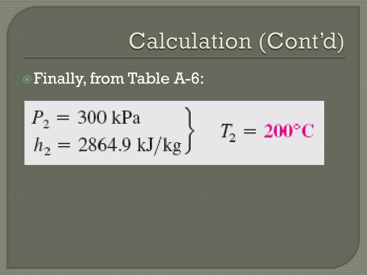 Calculation (Cont'd)