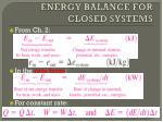 energy balance for closed systems