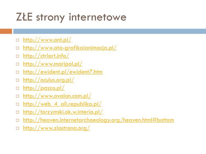 ZŁE strony internetowe