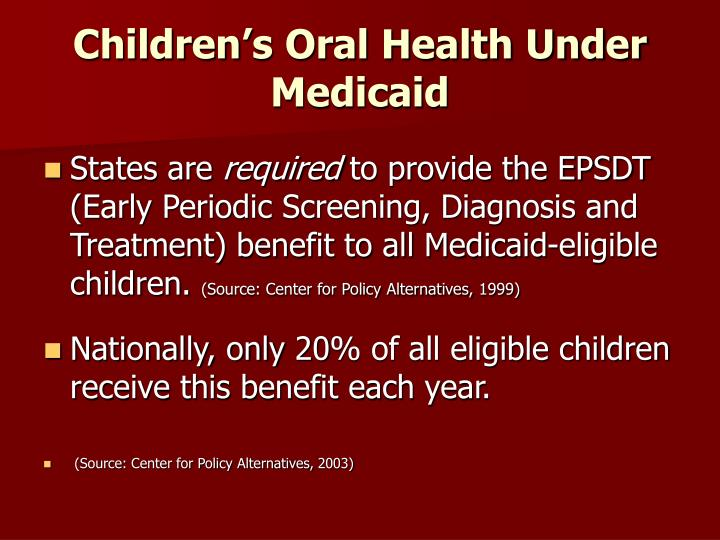 Children's Oral Health Under Medicaid
