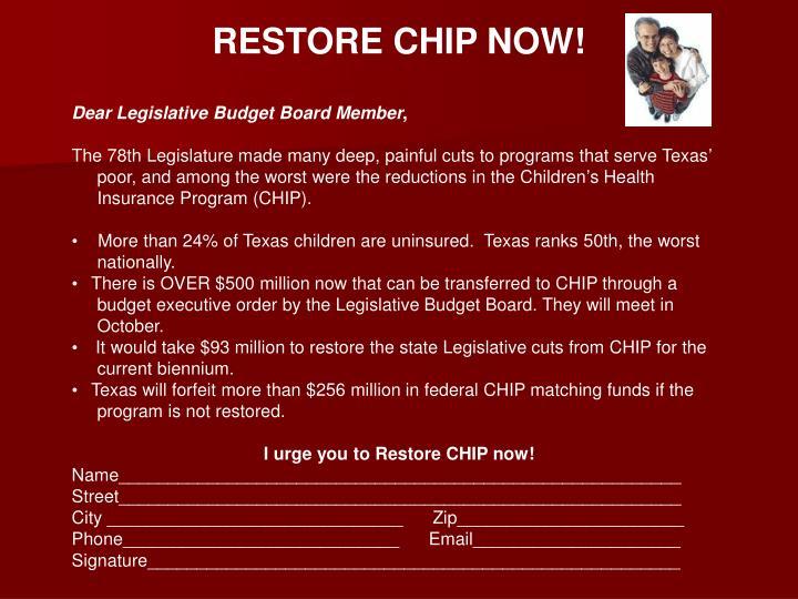 RESTORE CHIP NOW!