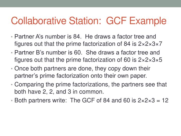 Collaborative Station:  GCF Example