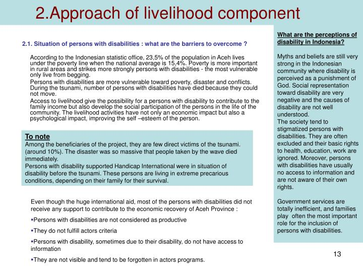 2.Approach of livelihood component