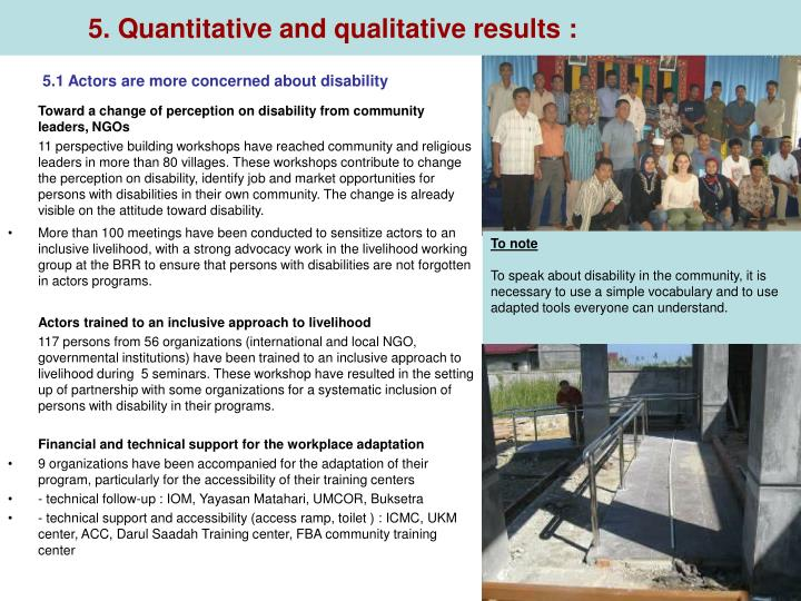 5. Quantitative and qualitative results :