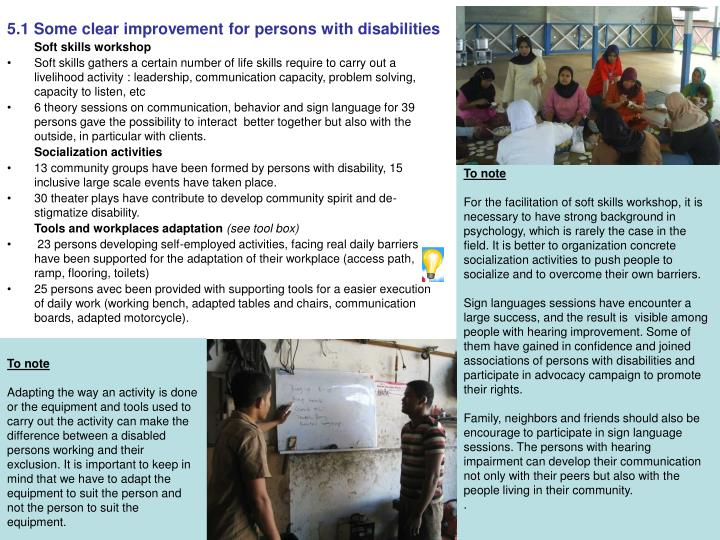 5.1 Some clear improvement for persons with disabilities