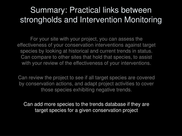 Summary: Practical links between strongholds and Intervention Monitoring
