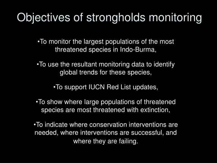 Objectives of strongholds monitoring