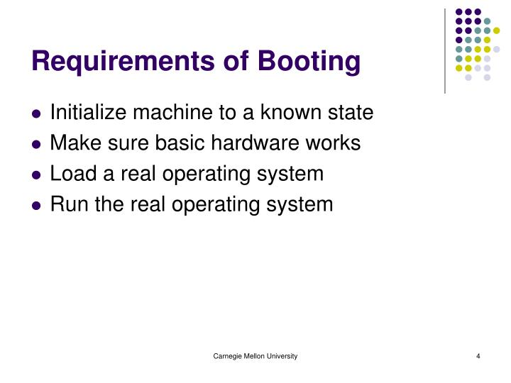 Requirements of Booting