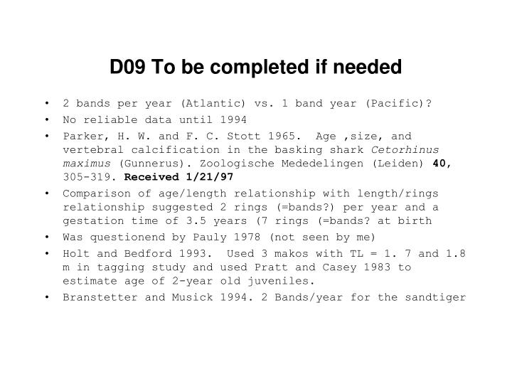 D09 To be completed if needed