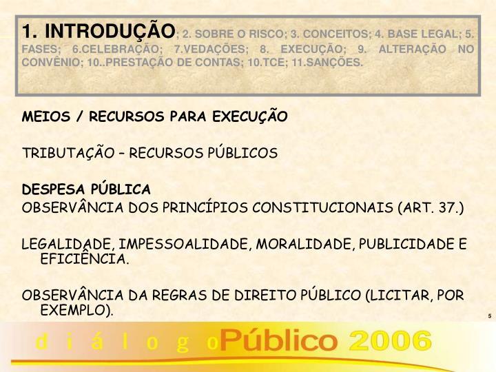 MEIOS / RECURSOS PARA EXECUÇÃO
