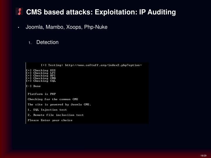 CMS based attacks: Exploitation: IP Auditing