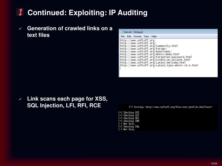 Continued: Exploiting: IP Auditing