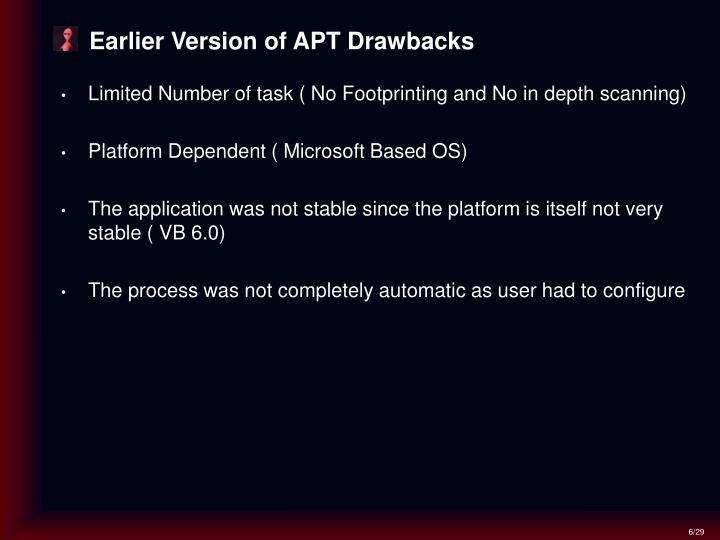 Earlier Version of APT Drawbacks